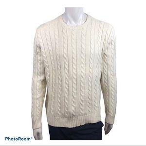 J Crew Men's Cream Coloured Cable Knit Sweater